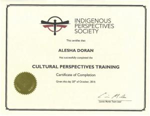 Cultural Perspectives Training Certificate - Alesha Doran-1